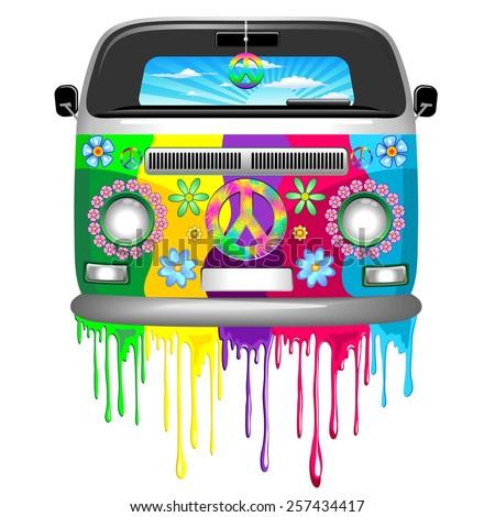 Hippie Van Dripping Rainbow Paint - stock vector