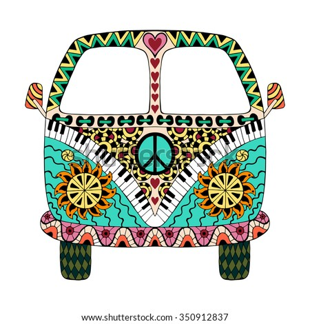 Hippie vintage car a mini van in zentangle style for adult anti stress. Coloring page with high details. Made by trace from sketch. Hippy color vector illustration. Retro 1960s, 60s, 70s - stock vector