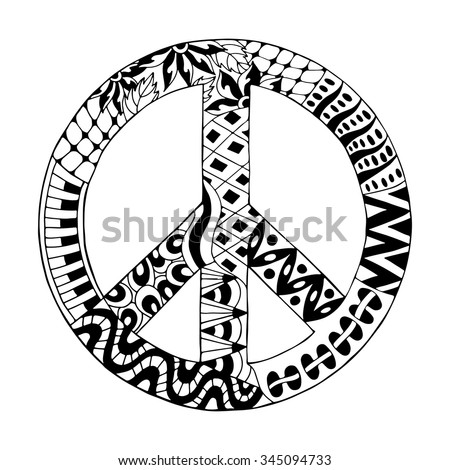 Hippie vintage peace symbol in zentangle style for adult anti stress. Coloring page with high details. Made by trace from sketch. Hippy monochrome vector illustration. Retro 1960s, 60s, 70s - stock vector
