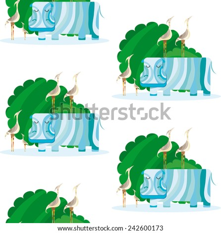 Hippo and Herons in a Puddle - stock vector