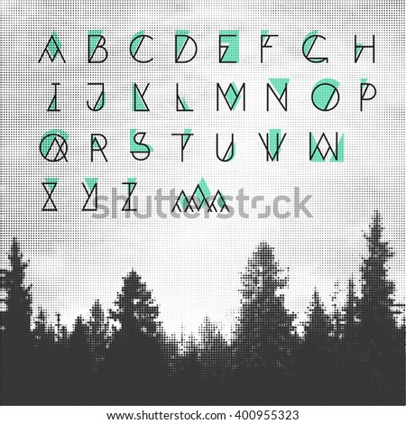 Hipster Alphabet - stock vector