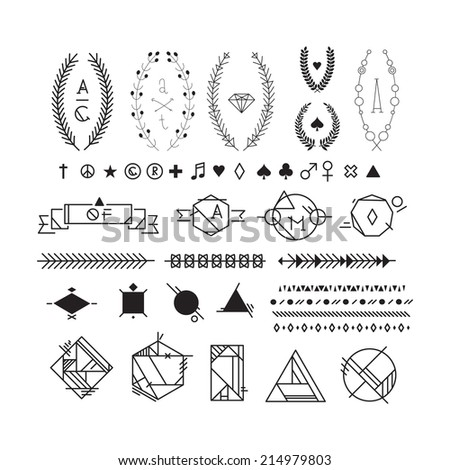 Hipster black and white graphic elements, peace, heart, plus, star, female, male, spade, diamond, club, note, registered trademark symbol, copyright, leaf - stock vector