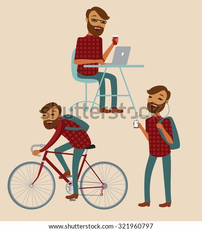 Hipster cartoon character lifestyle set. Vector illustration - stock vector