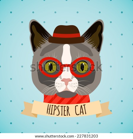Hipster cat with glasses and hat portrait with ribbon poster vector illustration. - stock vector
