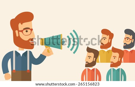 Hipster Caucasian business people with beard at office smiling together happy listening to their speaker holding a megaphone discussing a business proposal. Business meeting concept.  - stock vector