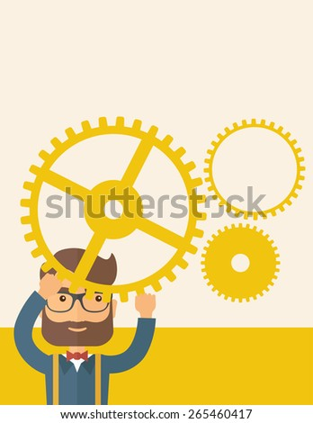 Hipster Caucasian businessman with beard wearing glasses standing holding up gear planning to go into technology business. Planning concept. A contemporary style with pastel palette, beige tinted  - stock vector