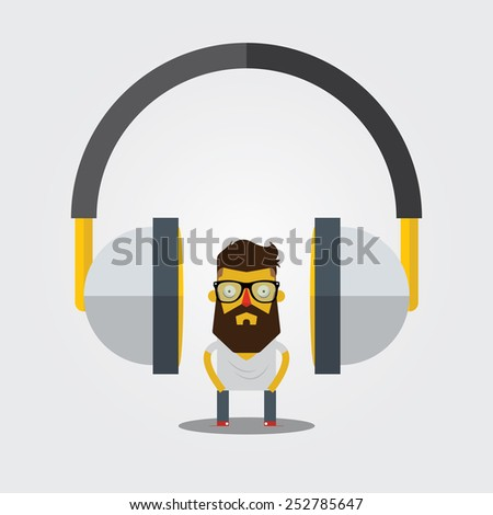 Hipster character and headphone icon. Vector. Illustration - stock vector