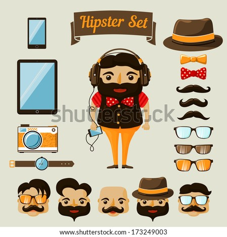 Hipster character elements for nerd boy with customizable face look and clothing vector illustration - stock vector