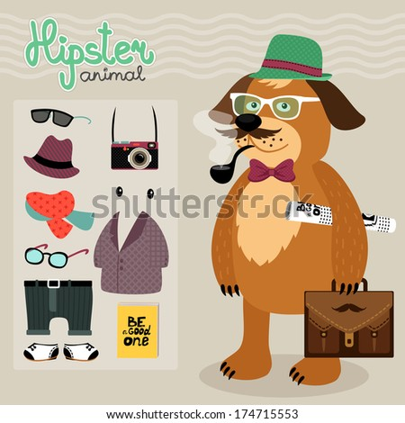 Hipster character elements for nerd puppy dog with customizable face look and clothing vector illustration - stock vector