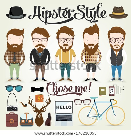 Hipster character illustration in info graphic concept background with hipster elements and icons  - stock vector