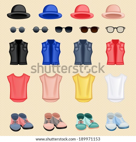 Hipster character pack design elements female girl accessory isolated vector illustration - stock vector