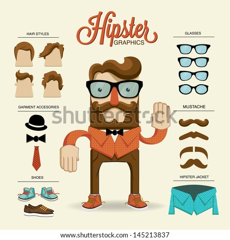 Hipster character, vector illustration with hipster elements and icons - stock vector