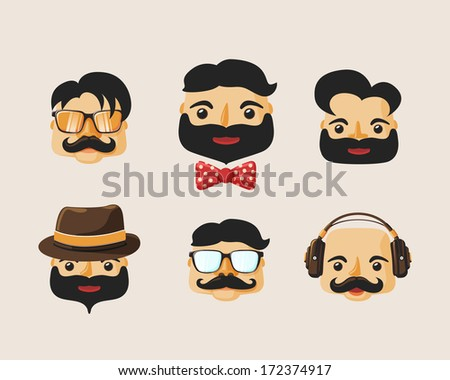 Hipster characters pack with facial emotions and retro hair styles isolated vector illustration - stock vector