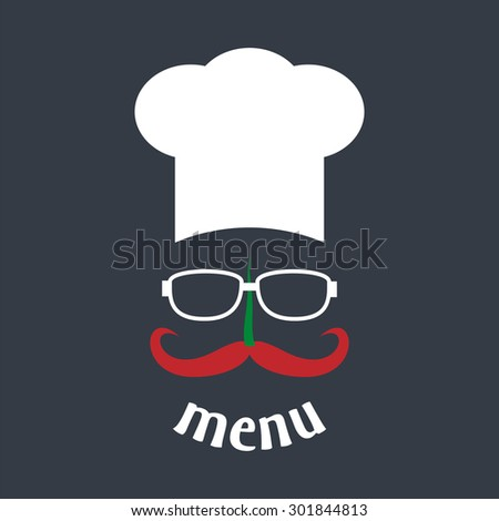 Hipster chef hat with mustache and glasses. Foods Service icon. Menu card. Simple flat vector illustration, EPS 10. - stock vector