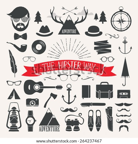 Hipster collection A set with hand drawn retro elements - stock vector