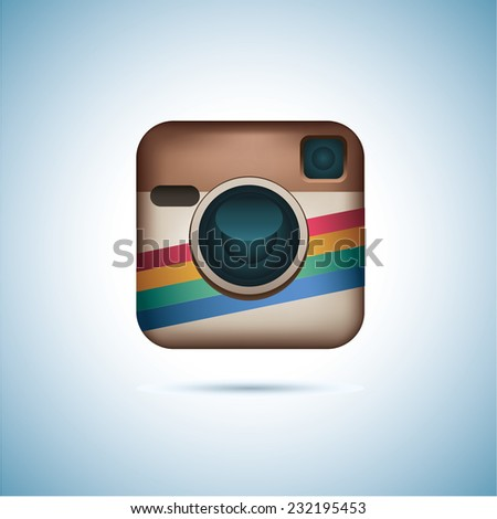 Hipster colorful realistic photo camera icon with shadow. - stock vector