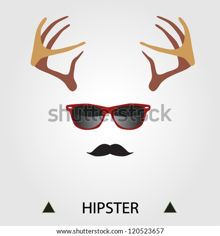 Hipster complete set: deer horns, hipster glasses, mustache - stock vector