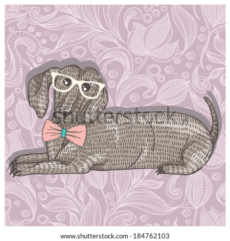 Hipster dachshund with glasses and bowtie. Cute puppy illustration for children and kids. Dog background. - stock vector