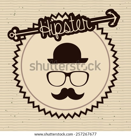 Hipster design over brown background, vector illustration. - stock vector