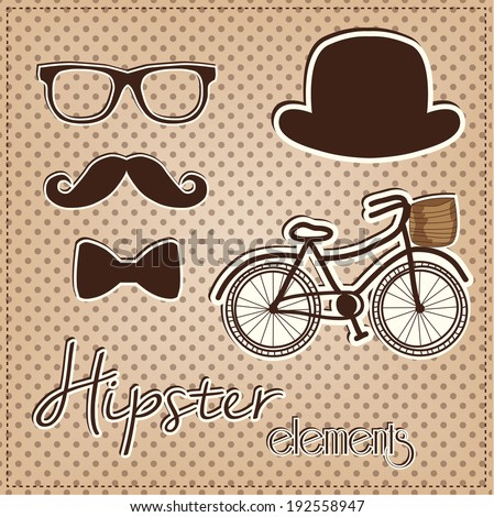 Hipster element collection, vintage or retro eye glasses, mustache, bow tie, hat and bicycle on a polka dot background, for scrapbooking, vector format. - stock vector