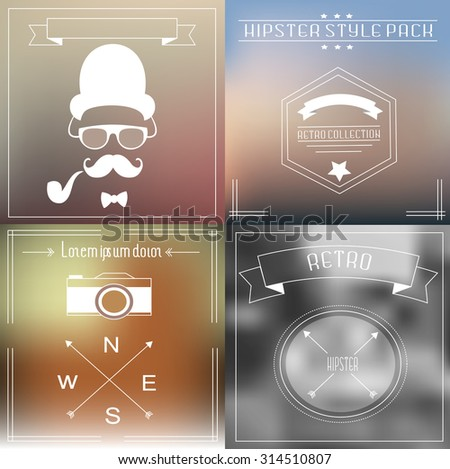 Hipster elements and icons collection with vintage and retro style - stock vector