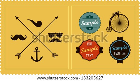 Hipster elements and labels - stock vector