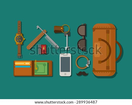 Hipster elements icons laying on surface in flat style. - stock vector