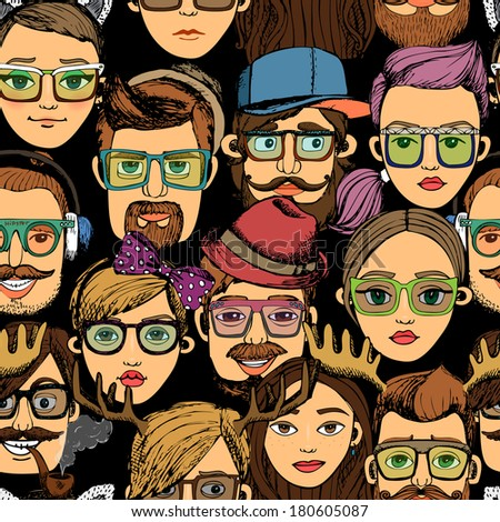 hipster faces seamless background print pattern deer with glasses - stock vector