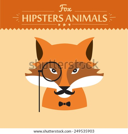 Hipster fashion animal with classic hipster elements. Fox. flat concept vector illustration - stock vector