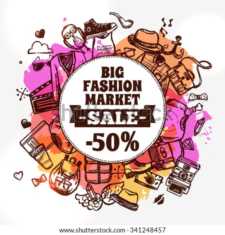 Hipster fashion clothing discount big market sale advertisement banner with circle shape composition doodle abstract vector illustration - stock vector