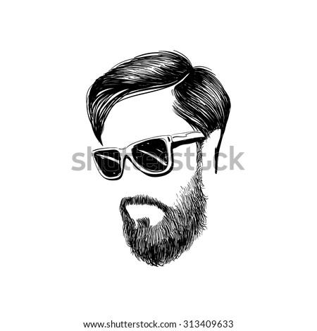 Hipster fashion man hair and beards, Hand drawn vector illustration  - stock vector