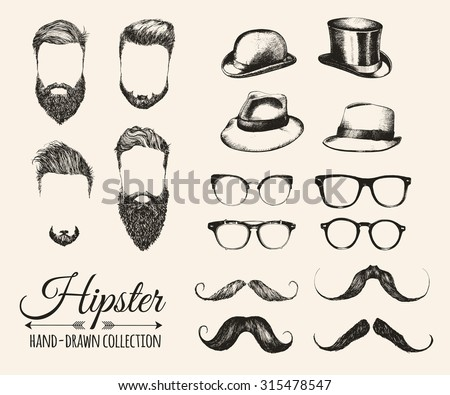 Hipster fashion vintage elements hand-drawn mega collection. Hipster hair, beards, mustaches, hats,  bowler, fedoras and eyeglasses. Vector illustration. - stock vector