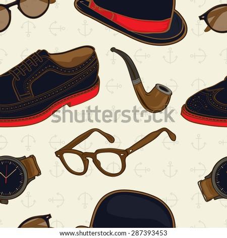 Hipster / Gentleman Stuff Elements Seamless Pattern illustration in vector - stock vector