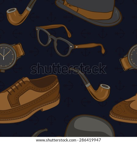 Hipster / Gentlemen Stuff Elements Seamless Pattern illustration in vector - stock vector