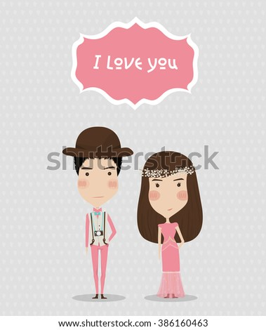 Hipster Girl and Boy in pink dress. wedding card.  - stock vector