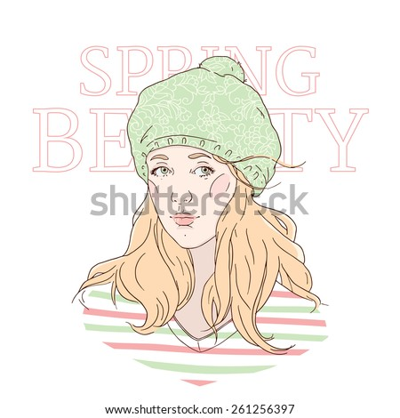 Hipster girl in green hat with floral ornament: hand drawn vector illustration. Spring beauty and fashion accessories. - stock vector