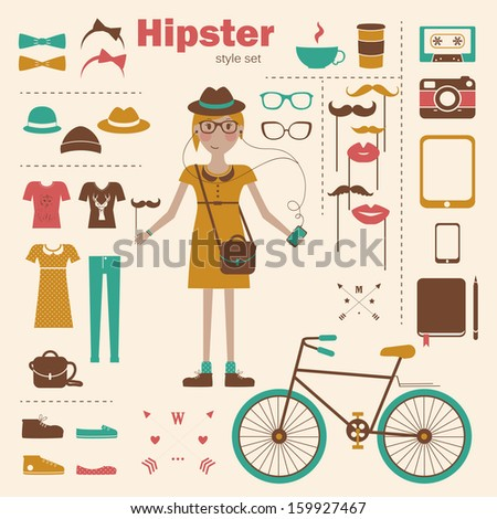 Hipster girl infographic concept background with icons - stock vector