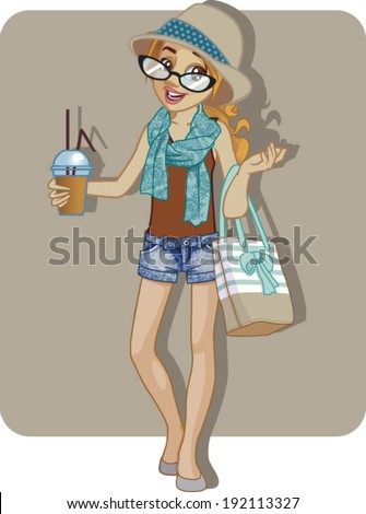 hipster girl wearing fashionable clothes and looking confident - stock vector