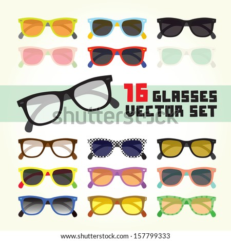 Hipster glasses isolated vector set - stock vector