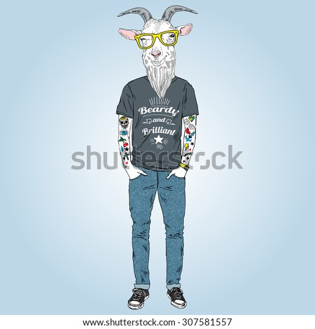 hipster goat with tattoo dressed up in urban style, furry art illustration - stock vector