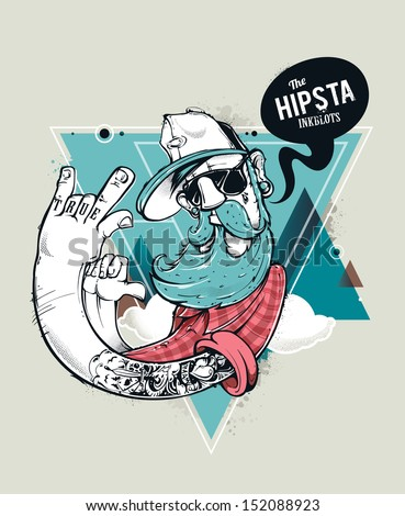 Hipster graffiti character on abstract triangle background. Hand-drawn hipster tattooed dude with mustache and beard. Vector illustration. - stock vector