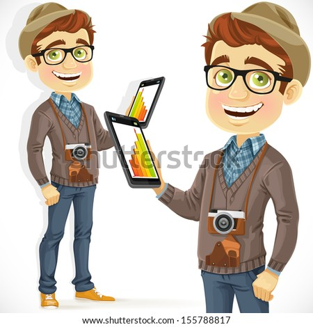 Hipster guy in a hat with a tablet computer in hand isolated on white background - stock vector