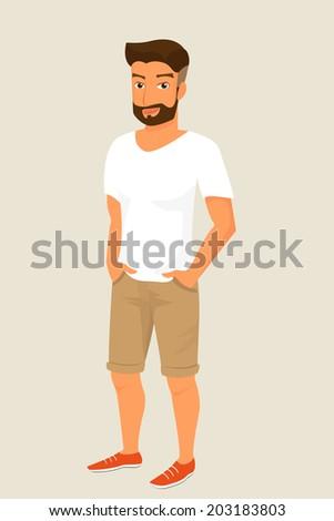 Hipster guy wearing stylish haircut - stock vector
