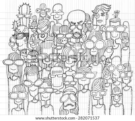 Hipster hand drawn Doodle crowd of happy people in sunglasses.drawing style Pen on Paper Notebook.Vector illustration. - stock vector