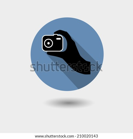 Hipster himself photo or camera icon with long shadow - stock vector
