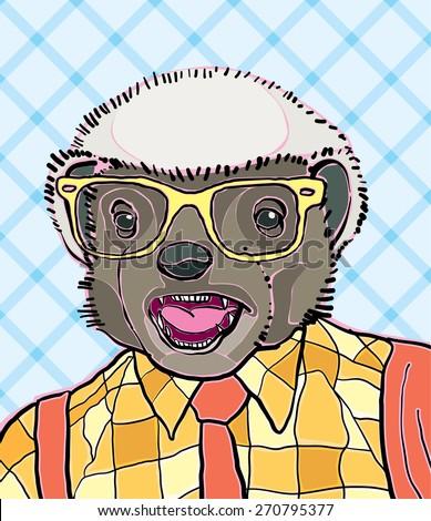 hipster honey badger vector illustration - stock vector