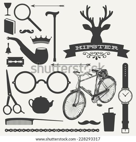 Hipster icon set vector - stock vector