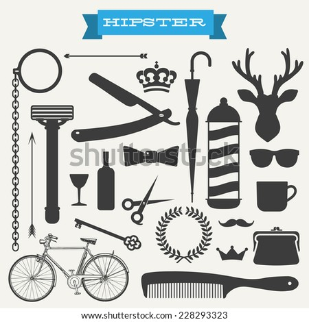 Hipster icon set vector - stock vector