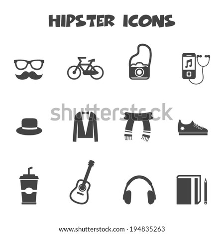 hipster icons, mono vector symbols - stock vector