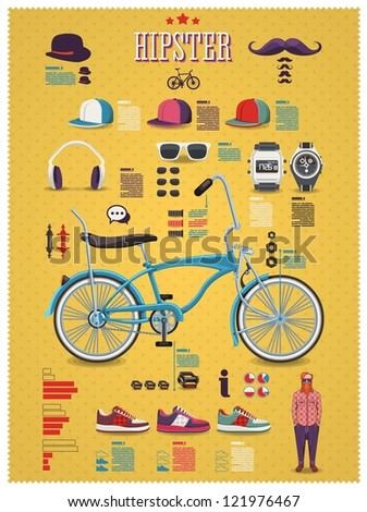 Hipster info graphic background with bicycle ,hipster elements and icons, - stock vector